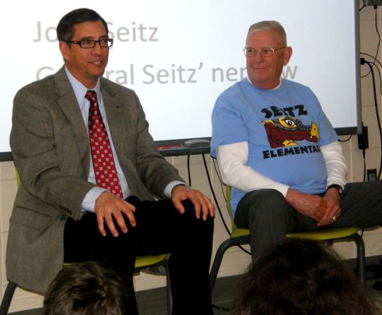 "Rick and John Seitz at the ""press conference"" at Seitz Elementary"
