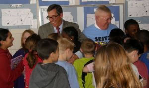 A lot of fun at the Seitz school: Rick (l), John, and the Fifth Graders