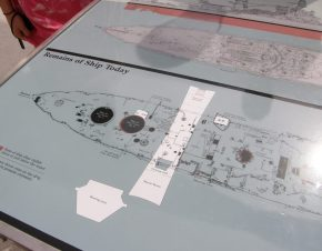 Map of the remains of the USS Arizona, Pearl Harbor